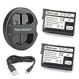 Newmowa Ersatz Akku EN-EL15 (2er Pack) und Tragbar Micro USB Ladegerät Kit für Nikon EN-EL15 und Nikon 1 V1, D600, D610, D800, D800E, D810, D7000, D7100, D7200