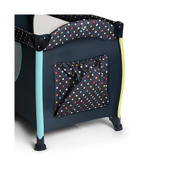 Hauck Sleep N Play Centre II, 7-part Folding Travel Cot from Birth to 15 kg, Bassinet and Changing Top, Folding Mattress and Wheels, Side Opening, Toy Bag, 120 x 60 cm, Multi Dots Navy Hauck Suitable from birth Includes fold up mattress (60 x 120cm) Folds away into its own carry bag 5