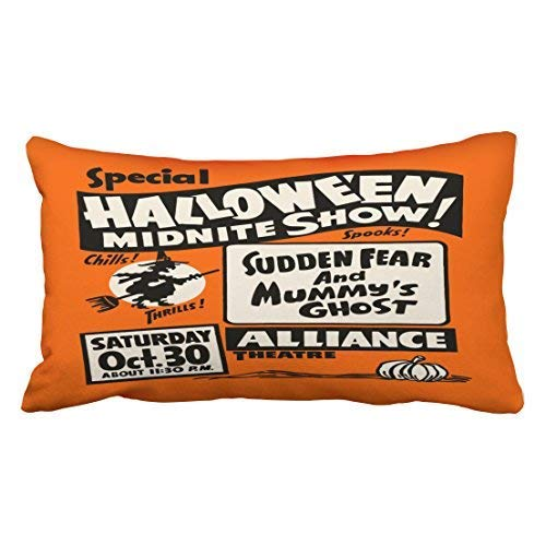 Zcfhike Custom Vintage Spook Show Poster Halloween Midnite Show Throw Pillow Covers Cushion Cover Case 20X30 Inches Pillowcases Two Side