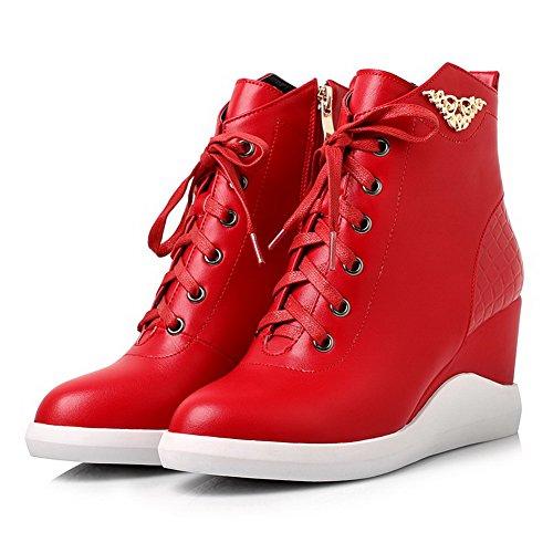 AllhqFashion Damen Reißverschluss Hoher Absatz Pu Rein Niedrig-Spitze Stiefel Rot