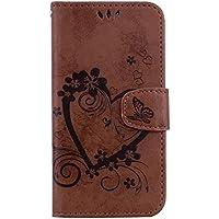 Herbests Handytasche für iPhone XS Hülle Blumen Muster Lederhülle Klappbar Leder Tasche Handy Schutzhülle Book Handyhülle Flip Case Cover,Schmetterling Blumen Braun
