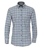 Casa Moda - Comfort Fit - Twill Langarm Hemd Kariert mit Button Down-Kragen (483016700), Größe:3XL, Farbe:Aqua bis Petrol (150)