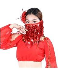 Dance Fairy rojo cara danza del vientre velo accesorios de la danza