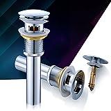 BONADE Universal Ablaufgarnitur mit Überlauf POP UP Ventil für Waschtisch / Waschbecken, Chrom