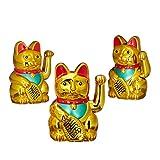 3er Set Maneki Neko Winkekatze Gold, Glückskatze groß, winkende Katze China, Glücksbringer Figur, HxBxT: 16 x 10 x 8 cm