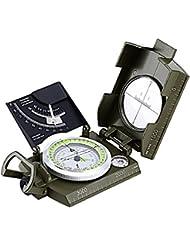 USCAMEL® Profesional Mental brújula con multifunción para camping y senderismo tamaño de bolsillo impermeable, color negro