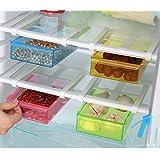 Wjkuku réfrigérateur Organiseur Space Saver étagère multifonction Plastique Boîte de rangement de cuisine réfrigérateur congélateur étagère Porte coulissante tiroirs Spac de cuisine Space Saver