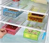 Wjkuku, contenitore alimentare sotto mensola per frigorifero e freezer, agganciabile al ripiano, scorrevole, multifunzione, in plastica, articolo salvaspazio per cucina Green