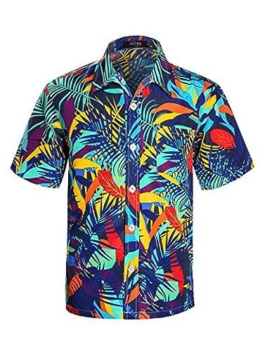 APTRO Men's Hawaiian Shirt Printing Short Sleeved Summer Beach Shirt Dark Blue XL
