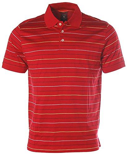 Kitaro Herren Kurzarm Shirt Poloshirt Polokragen Streifen True Red