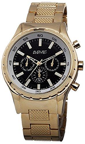 August Steiner Reloj de pulsera de reloj multifunción esfera de color negro de cuarzo suizo de para hombre