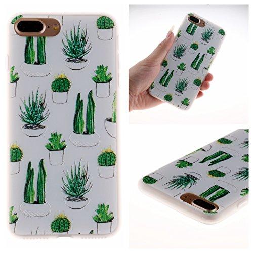 iPhone 7 Plus Hülle, Voguecase Silikon Schutzhülle / Case / Cover / Hülle / TPU Gel Skin für Apple iPhone 7 Plus/iPhone 8 Plus 5.5(Weltkarte 01) + Gratis Universal Eingabestift Kaktus 04
