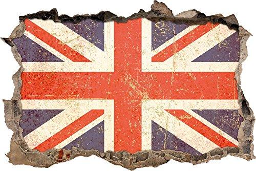 Braun Union Jack (Pixxprint 3D_WD_2646_62x42 Union Jack Wanddurchbruch 3D Wandtattoo, Vinyl, bunt, 62 x 42 x 0,02 cm)