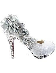 VogueZone009 Mujer Zapato de Tacón Alto Tachonado de Diamante Imidado Con Flores