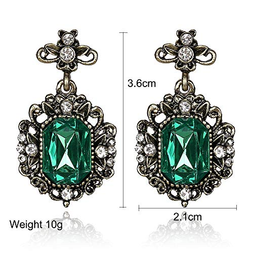 SYDDD Wunderschöne Lange weibliche Ohrringe grünes Glas süße Metall Ohrstecker Kristall Ohrringe weibliches Mädchen -
