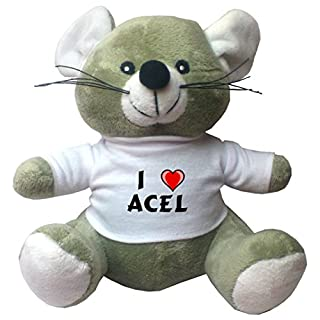Plush Mouse with I Love Acel T-shirt (first name/surname/nickname)