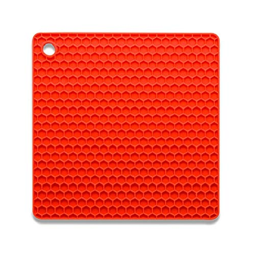 Square Thick Honeycomb Silicone Coaster Heatproof Placemat Anti-Slip Waterproof Pot Pad(Red) -