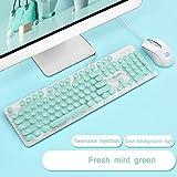 OFNMD Tastaturmaus mit Tastatur, Rosa Punk, für Zuhause, Büro, Tippen, Esport-Spiel, Hintergrundbeleuchtung, runde Tasten, Retro-Stil Minzgrün mintgrün