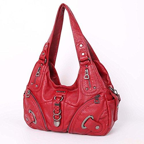 21K 2 chiusure con cerniera chiusura di borse multifunzione tasche borse in lana lavate borse a tracolla AK11282 rosso