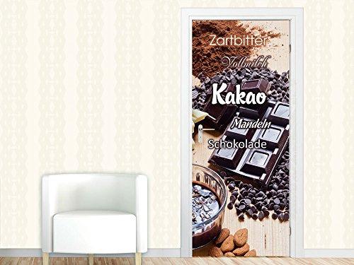 Türbild Türposter Türtapete für Küche Spruch Kakao Zartbitter Vollmilch Mandeln (92x213cm)