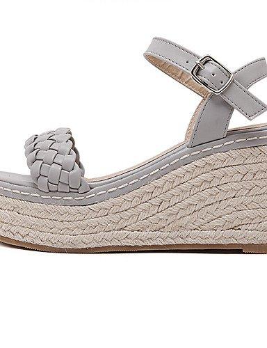 UWSZZ IL Sandali eleganti comfort Scarpe Donna-Sandali-Formale / Serata e festa-Zeppe / Plateau / Aperta-Zeppa-Finta pelle-Bianco / Grigio gray