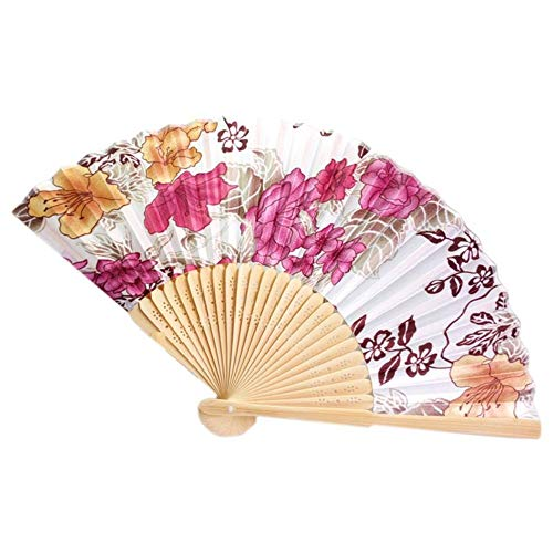 WANGYUJIN Faltfächer Folding Fan Chinese Japanese Fold Red Floral Fabric Bamboo Asian Folding Fan - Folding Fan Red Japanese -