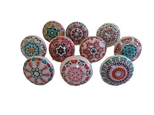 Mix aus Keramikknäufen im Vintage-Look, 10 Stück, Blumendesign, Griffe für Türen, Schränke, Schubladen.