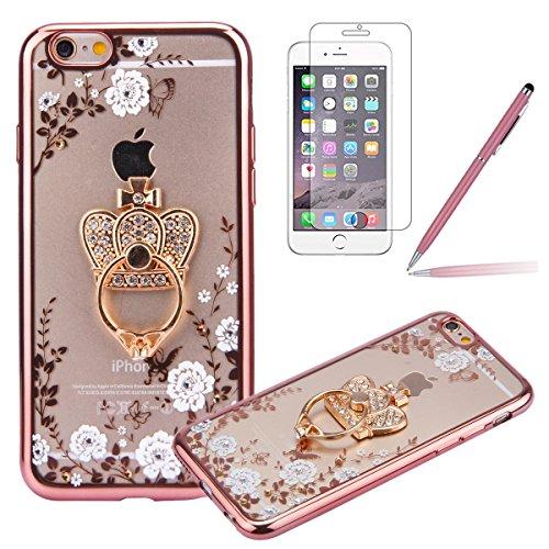 iPhone 5S Custodia Rigida,iPhone SE Cover Trasparente con Disegno,Felfy iPhone 5/SE/5S Rose Gold Custodia Cover (Anello Fiore Crystal Rose)