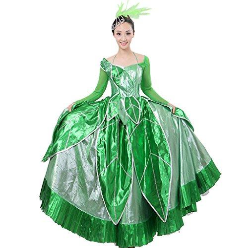 Wgwioo frauen flamenco kleid rock öffnung tanz blühende blüte big swing chorus moderne tanz spanische performance kostüme zwei tragen , picture color , xxxl (Chorus Line Kostüme)