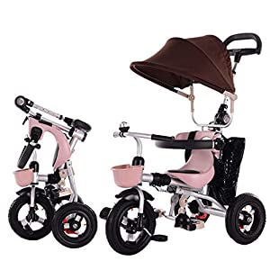 JYY 4-in-1 Baby Tricycle Folding - Kids Pedal Trike with Pushing Handle, Detachable Canopy, Non-slip Pedal, Safety Guard,Brown-1   3