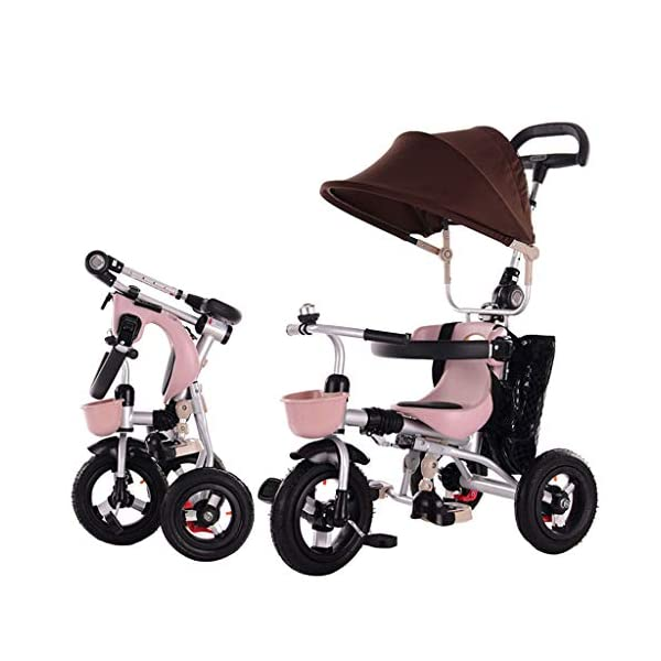 JYY 4-in-1 Baby Tricycle Folding - Kids Pedal Trike with Pushing Handle, Detachable Canopy, Non-slip Pedal, Safety Guard,Brown-1 JYY 4-IN-1 MULTIFUNCTIONAL: A stroller (Foldable) that can become a steering trike, learning to-ride trike and finally a classic trike. 3-Stage trike adjusts as child grows. For baby from 18 months, within 25kg. DURABLE MATERIAL: This push trike is made of High-quality carbon steel frame with superior strength, anti-corrosion and anti-peeling. Adjustable canopy with 600D oxford fabric blocks harmful UV rays. SAFETY DESIGN: High-back support, surrounded guardrail prevent sliding out or overly leaning forward. Hollow wheels prevent clamped feet. 1