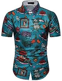 7c70f7f073 Fxwj Uomo Stampa Floreale Camicie da Spiaggia Hawaiane Tropical Manica  Corta Button Down Elasticizzate…