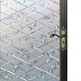 DPS&RXX 3D Privatsphäre Selbsthaftend Sichtschutzfolie Fensterschutzfolie, Statische Folie Anti-UV Muster Bambus Dekofolie,für Fenster Glastür Küche & Büro Badezimmer,90(35.43in)*100(39.37in) cm