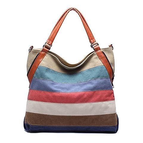 Ladies Stitching Stripes Sacs à Main Sac à Bandoulière Stripes Sac à Bandoulière Sac à Bandoulière Messenger Bag Sac Décontracté,A-36.5*13*36cm
