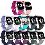 Zekapu Armband für Fitbit Versa/Fitbit Versa Lite, Fitbit Versa Armbänder Ersatz Einstellbare Silikon Sport Zubehör Armband für Fitbit Versa/Fitbit Versa Lite, Klein Groß, 12 Farben