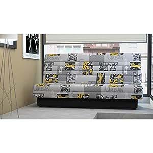Nukkuva banquette clic-clac convertible lit + coffre 2 places tissu imprimé