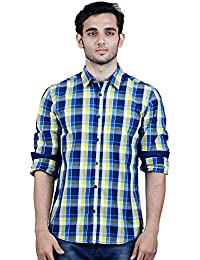 TORCY Men's Regular Fit Checked Casual Shirt (Yellow & Navy)