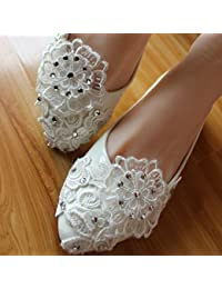 JINGXINSTORE Las mujeres hechas a mano del partido perla blanca de encaje Crystal nupcial zapato tacones altos, UK6, plano