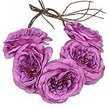 Especificaciones: Material: Flores de tela y cuerda. Color: Púrpura.Tamaño: La longitud de la cuerda es approx.1M. El diámetro de la flor es approx.11cm.Cinco hermosas flores realistas encadenadas por 5 piezas de cuerda dentro, diseño elegant...