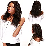 Parrucca Vera Donna Capelli Veri Ricci Full Lace Wig Remy Human Hair Glueless Posticci Naturali Deep Wave con Baby Hair - 130% Density 14'/35cm 150g