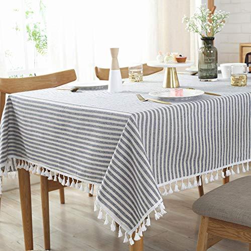 SJZC Tischdecke Uni Gestreift Quaste Einfach Baumwolle Tee Tischdecke,Blue,140 * 220CM