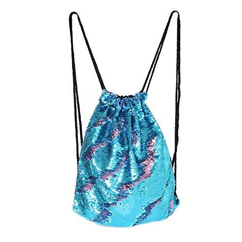 DrCosy Meerjungfrau Kordelzug Magie Reversible Pailletten Rucksack Mode Glitzernde Tanz Tasche mit Tasche 35x45CM (Schick Grün/Schwarz) (Stoff-gegenstände-taschen)