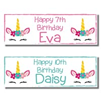 2 Personalised Birthday Banners - Unicorn FACE Design - Available in Pink OR Green (Approx 3ft x 1ft) (Pink)