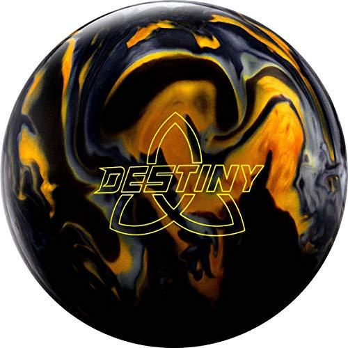 Ebonite Destiny Hybrid - Schwarz/Gold/Silber, Hybrid Oberfläche, Bowling Ball mit Asymetrischem Kern und Pearl Reaktiv Oberfläche - inklusive 100ml EMAX Ball-Reiniger Größe 13 LBS
