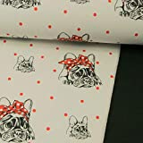 Softshell Stoff Französische Bulldogge mit Schleife