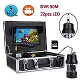 GW 50M professionelle UnterwasserFischerei Video Kamera Fish Finder 9 Zoll DVR Recorder Farb Bildschirm WasserDicht 22 LEDs 360 Grad rotierende Kamera