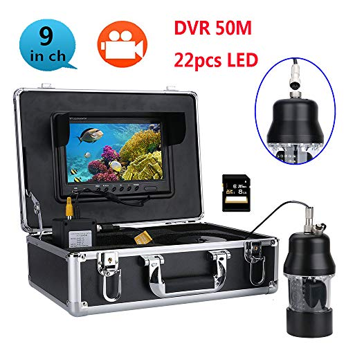 OUT-L 50M professionelle UnterwasserFischerei Video Kamera Fish Finder 9 Zoll DVR Recorder Farb Bildschirm WasserDicht 22 LEDs 360 Grad rotierende Kamera Farb-fishfinder