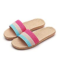 8Eninine Summer Fashion Couple Home Linen Slippers Indoor Slippers Cotton And Linen Sky Blue