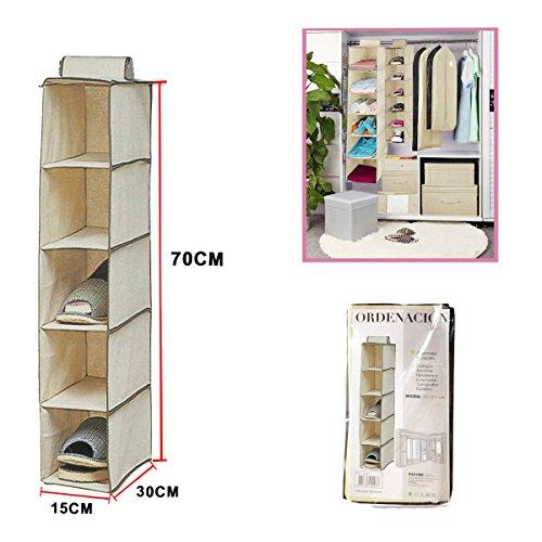 Dabuty Online, S.L.. Organizador para Colgar en el Armario u hogar con 5 estantes. Medidas 15 x 30 x...