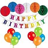 PBPBOX Banderole Anniversaire Joyeux Anniversaire , 6 Guirlandes Alvéolée et 24 Ballons